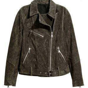 H&M dark khaki green suede biker jacket
